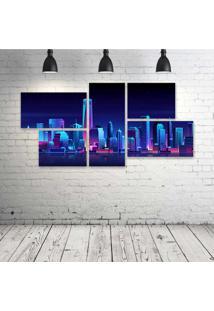 Quadro Decorativo - New-York-Buildings-City-Night - Composto De 5 Quadros - Multicolorido - Dafiti