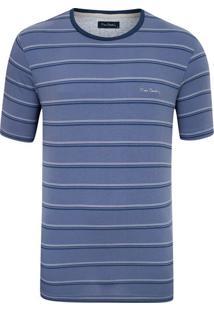 Camiseta Malha Listrada Com Elastano Azul Carbono New