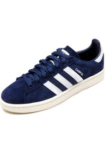 Tênis Couro Adidas Originals Campus Azul-Marinho/Branco