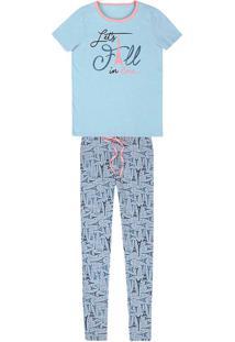 Pijama Feminino Em Malha De Algodão Com Estampas