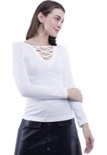 Blusa Pop Me Manga Longa Decote V Trançado Feminina - Feminino-Branco