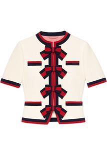 Gucci Jaqueta De Lã Com Laços Web - Branco