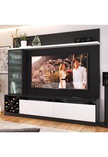 Rack Com Painel Para Tv Até 65 Polegadas 3 Portas 2020 Ptx/Bac Preto/Branco - Quiditá Móveis