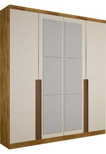 Guarda-Roupa Solteiro Com Espelho 4 Portas Morfeu-Novo Horizonte - Freijo Dourado / Off White