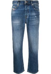 Diesel Calça Jeans Reta Cropped Aryel 009Cz - Azul