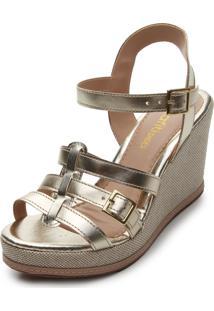 Sandália Dafiti Shoes Metalizada Dourada