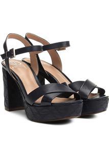 4c725a3ab R$ 169,99. Zattini Sandália Moderna Com Salto Alto Dumond Azul Texturizada  - Feminina ...