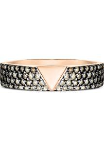 Anel Ouro Rosã© E Diamantes Brown