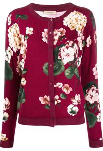 Twin-Set Cardigan Com Estampa Floral - Vermelho