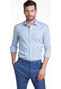 Camisa Buckman Lisa Com Vista Sobreposta Azul