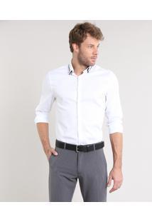 Camisa Masculina Comfort Texturizada Manga Longa Branca