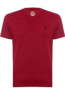 Camiseta Aleatory Gola V Básica Masculina - Masculino-Vermelho
