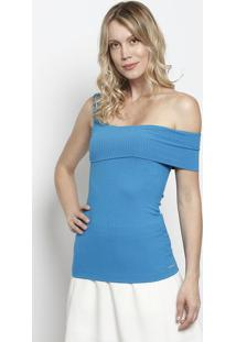 Blusa Canelada Com Recorte Sobreposto - Azul - Colcccolcci