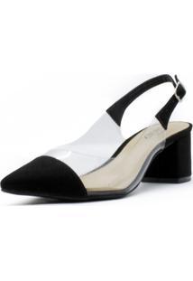 Scarpin Shoes Inbox Slingback Vinil Feminino - Feminino-Preto