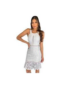 Vestido Boutelle Renda Curto De Festa Casual Branco