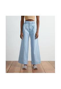 Calça Wide Leg Em Jeans Com Pregas Frontais