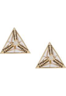 Bia Tambelli Par De Brincos Three Em Ouro 18K Com Diamantes - Ouro Amarelo/Cristal