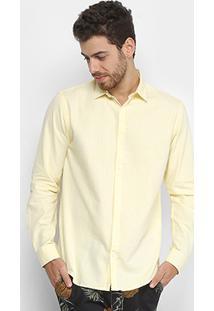 Camisa Manga Longa Foxton Oxford Masculina - Masculino-Amarelo