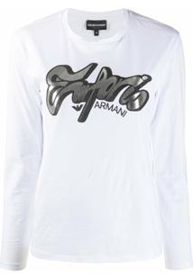 Emporio Armani Blusa Mangas Longas Com Estampa De Logo - Branco