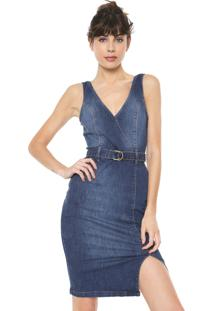 Vestido Jeans Triton Curto Com Cinto Azul