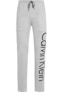 Calça Masculina Cotton Logo - Cinza Mescla