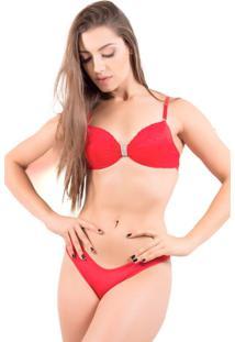 Conjunto De Renda Lingerie Michele - Feminino-Vermelho