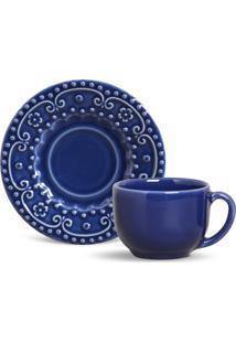 Xícara De Chá Esparta Cerâmica 6 Peças Azul Navy Porto Brasil