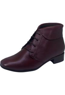 Bota S2 Shoes Cano Curto Couro Bordô