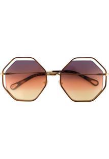 Chloé Eyewear Óculos De Sol 'Poppy' - Marrom