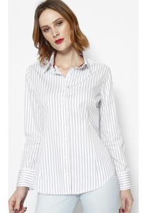 Camisa Listrada Com Bordado - Off White & Cinza Escuro