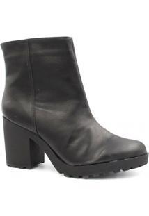 Bota Zariff Shoes Coturno Salto Zíper Feminina - Feminino-Preto
