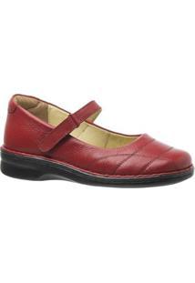 Sapatilha Couro 222M Doctor Shoes Feminina - Feminino-Vermelho