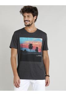 Camiseta Masculina Com Estampa De Paisagem Manga Curta Gola Careca Cinza Mescla Escuro