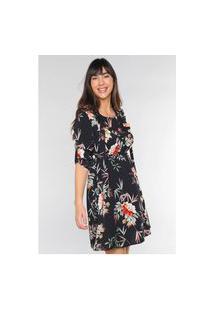 Vestido Crepe Estampado Floral Rodado Under79 Preto