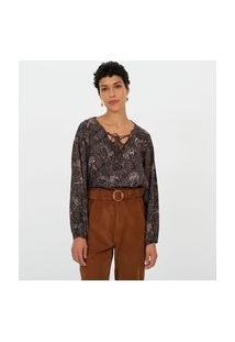 Blusa Bata Estampada | Marfinno | Preto | Pp