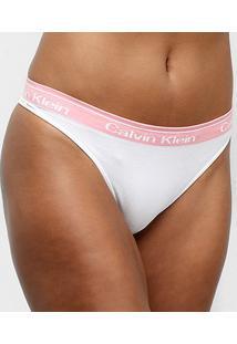 Calcinha Calvin Klein Fio Dental Sem Costura - Feminino-Branco