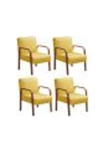 Kit 4 Cadeiras Anita Poltrona Decorativa Braço Madeira Para Escritório, Recepção, Sala De Estar Vários Ambientes - Veludo Amarelo