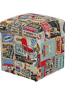 Puff Quadrado Decorativo Tecido Vintage - Lymdecor