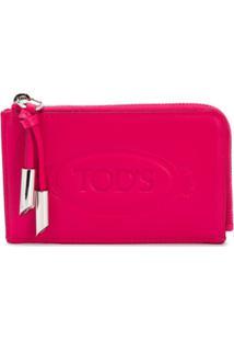 Tod'S Carteira Grande Com Zíper E Estampa De Logo - Rosa