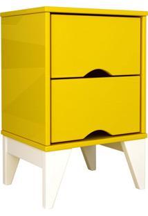 Mesa De Cabeceira 2 Gav. Twister Amarelo Tcil Móveis