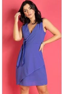 Vestido Com Sobreposição Assimétrica Azul
