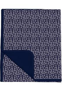 Manta Dupla Face Floral- Azul Marinho & Branca- 3X30Batistela
