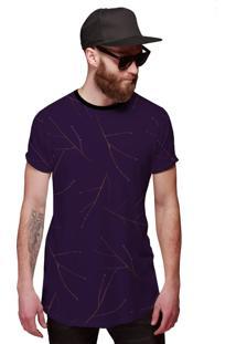 Camisa Di Nuevo Longline Roxa Com Gravetos Outono Inverno