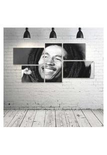 Quadro Decorativo - Bob-Marley-Smile - Composto De 5 Quadros