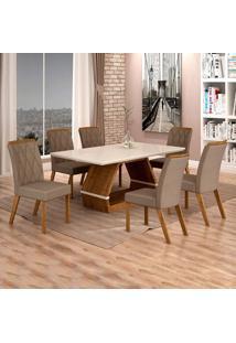 Conjunto De Mesa De Jantar Ii Com 6 Cadeira Esmeraldas Veludo Off White E Camurça