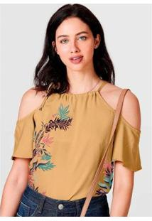 Blusa Ombro A Mostra Estampa Feminina - Feminino-Caramelo