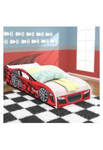 Cama Solteiro / Cama Carro Speedy Racing New Com Colcháo 188X88 Cm - Vermelha/Branco - Rpm Móveis
