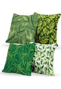 Kit 4 Capas Almofadas Decorativas Own Folhas Diversas 45X45 - Somente Capa