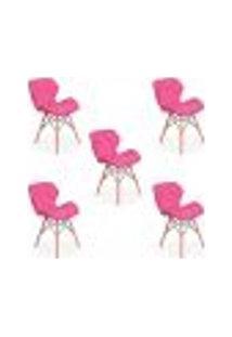 Kit 05 Cadeiras Charles Eames Eiffel Slim Wood Estofada - Rosa