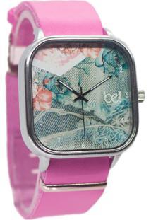 Relógio Bewatch Pulseira De Couro Rosa Jeans Floral